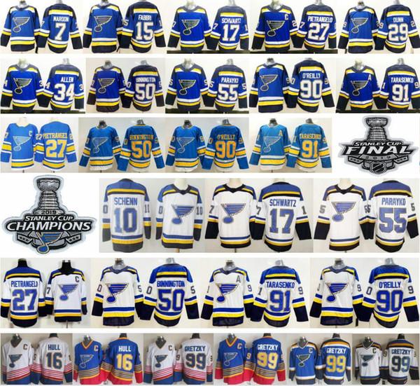 2019 New St. Louis Blues 27 Alex Pietrangelo 10 Schenn Jaden Schwartz Jake Allen 50 Binnington 7 Maroon 91 Vladimir 90 Ryan O'Reilly Jersey
