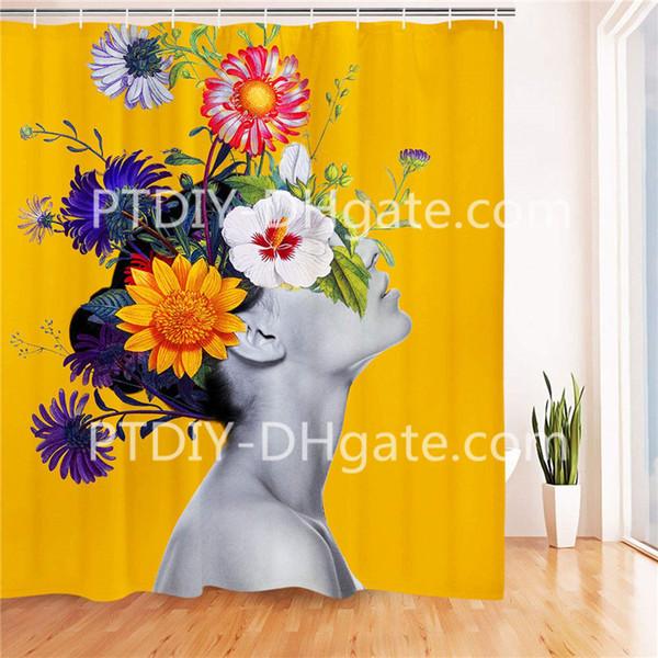 Hermosa flor de niña en el baño principal Cortina de ducha Duradera Resistente al moho Resistente al agua