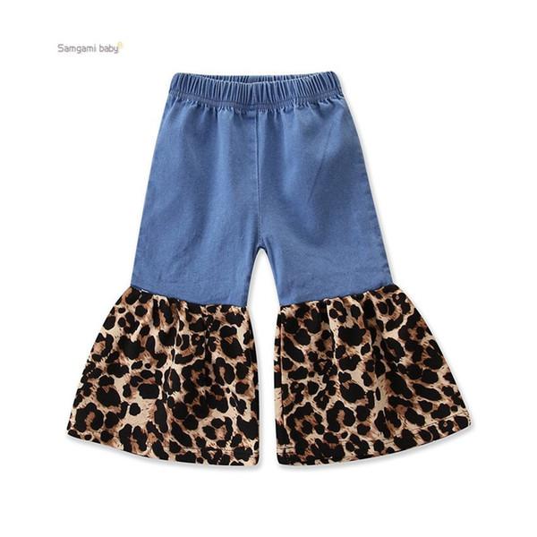 Ins chaud vente enfants pantalons printemps automne bébé fille pantalon à rayures imprimé léopard jean deux couleurs
