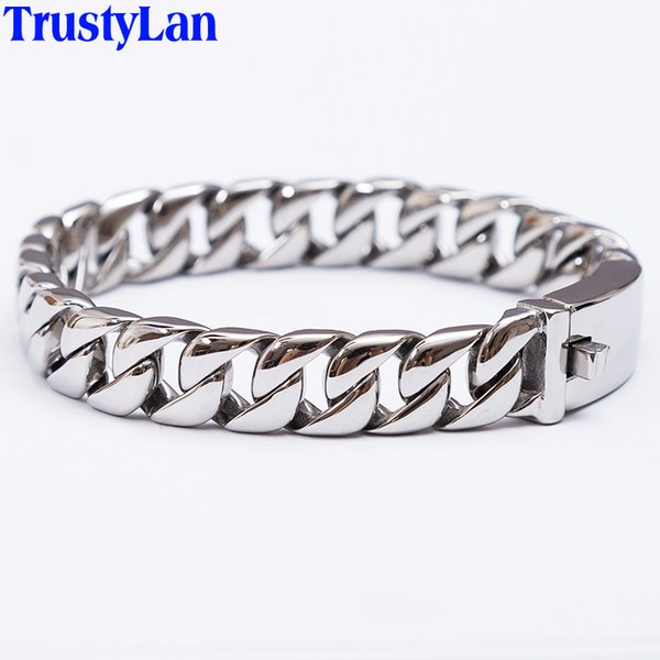 Trustylan Fashion New Link Chain Stainless Steel Bracelet Men Heavy 12mm Wide Mens Bracelets 2018 Bicycle Chain Wristband Y19051101