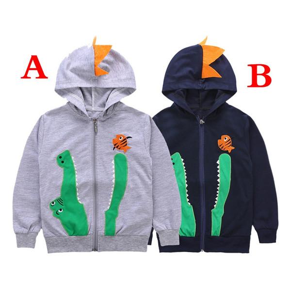 INS Herbst Gestickte Kinder Jacken Cartoon Lässig Mit Kapuze Krokodil Kinder Jungen Mädchen Oberbekleidung Reißverschluss Mäntel 3-8 T Jacken für Jungen