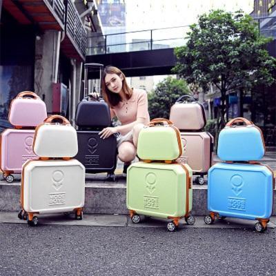 CALUDAN Mini trolley luggage13+16 inch universal small wheels luggage cosmetic travel bag trolley luggage sets,retro
