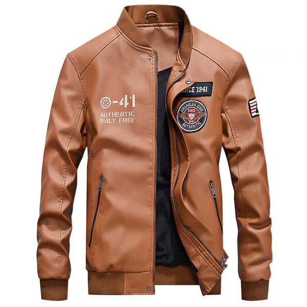 PU Leather Jacket Men New Brand Spring Autumn Stand Collar Baseball Leather Coat Mens Fashion Embroidery 4XL Motorcycle Jackets