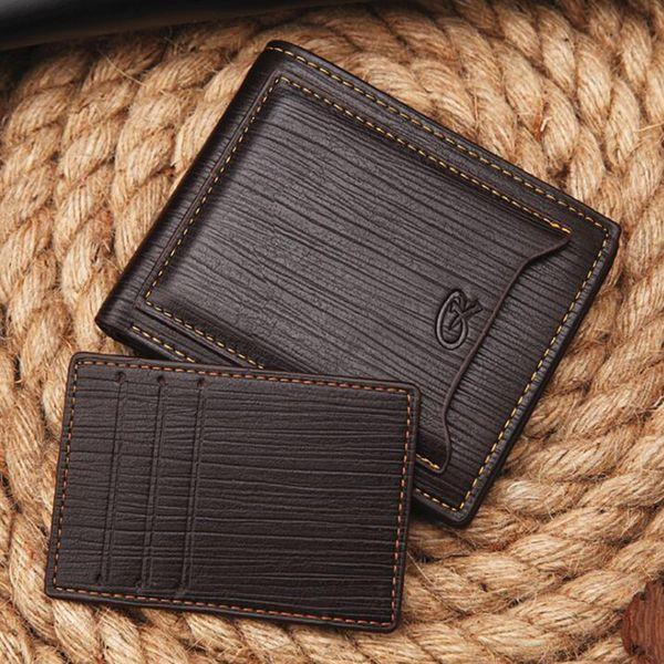 Cartera de tarjeta de crédito de lujo para hombre Cartera de cuero elegante y plegable con soporte extraíble para tarjetas Monedero de negocios Capacidad adicional Cartera de viaje
