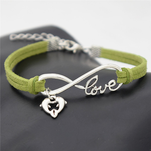 Green Leather Suede Women Men Bracelets Bangles Wristband Gifts Braided Charms Punk Trendy Infinity Love Double Dolphin Animal Heart Jewelry
