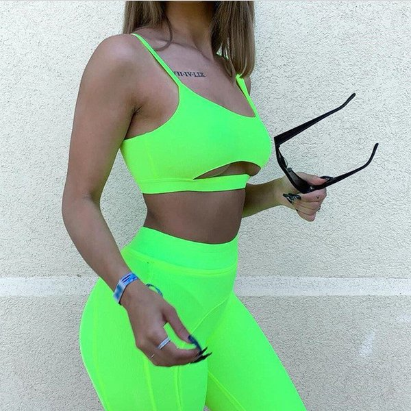 Yoga Hollow Out Skinny donne sexy tute asimmetrica Lunghezza Top Imposta vita alta pantaloncini sportivi 2PCS