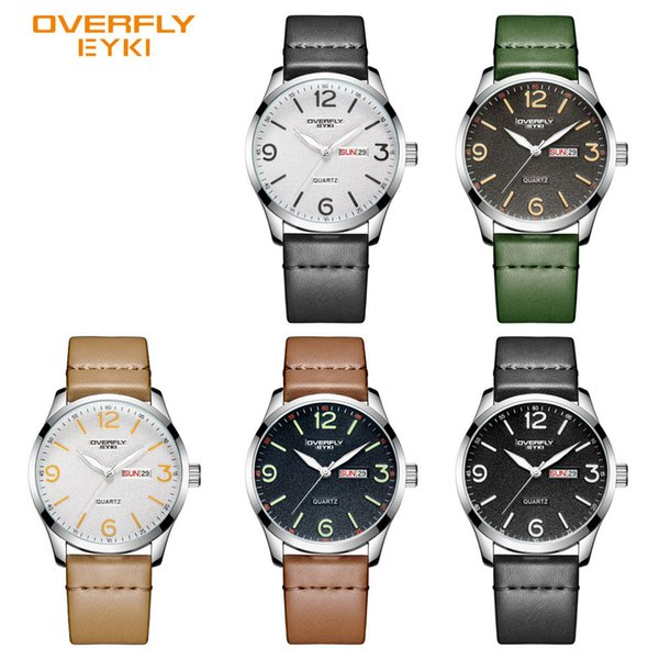 Quartz watch, PU fabric lychee strap, fire dial face, double calendar display, luminous hands, multi-color optional, men's watch
