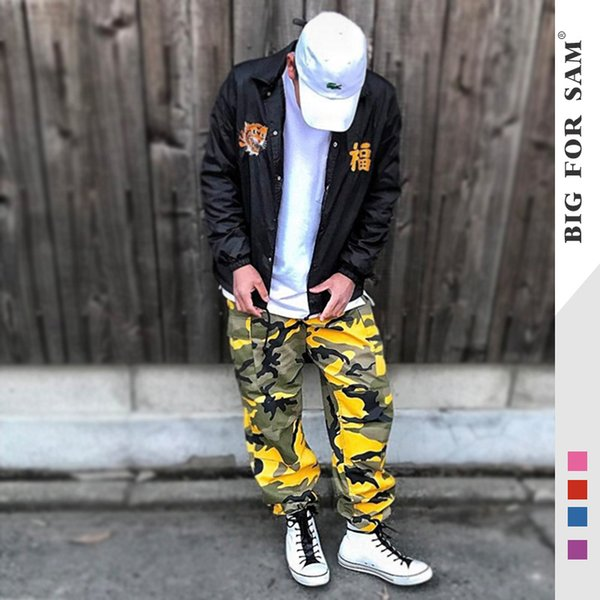 Men Fashion Brand Sweatpants Mens High Quality Pants Sports Camouflage Military Overalls Button Loose Trousers Clothing Size S-3XL