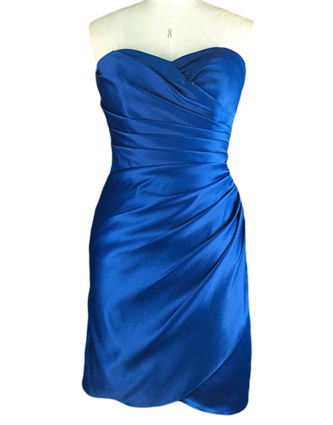 2019 Sweetheart Bridesmaid Dress Satin Summer Sheath Garden Short Formal Wedding Party Guest Maid of Honor Gown Plus Size Custom Made