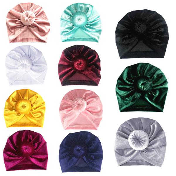 Mini Gold Samt Hut Baby Mädchen Neugeborenen elastisches Stirnband Baby Kinder Beanie Cap Multicolor Infant Turban Hüte