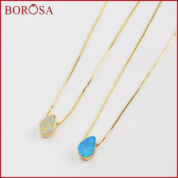 wholesale 5/10PCS 7x10mm Gold Color Teardrop White/Blue Japanese Opal Beads 17inch Necklace Man-made Opal Druzy Necklaces G1570