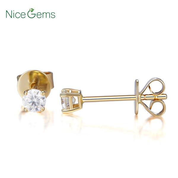14K Yellow Gold 3MM Lab Créé Moissanite diamant Classsic panier minuscules Boucles d'oreilles Repousser pour cadeau d'anniversaire