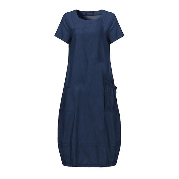 Schmicker Women Summer Short Sleeve Oversize Solid Loose Denim Dress Plus Size Overalls Female Korea Elegant Jeans Midi Dresses Y19052901