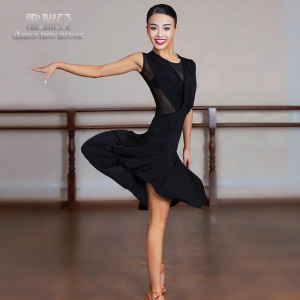 Nouvelle robe de danse latine Rumba Tang Compétition dans la salle de bal Chacha Noir Pratique Robe de danse G3051