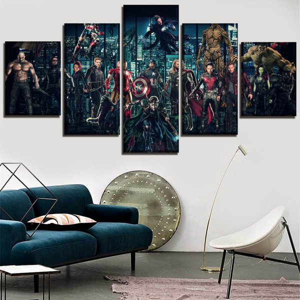 2018 Movie Avengers Infinty War Superheroes,5 Pieces Canvas Prints Wall Art Oil Painting Home Decor (Unframed/Framed)