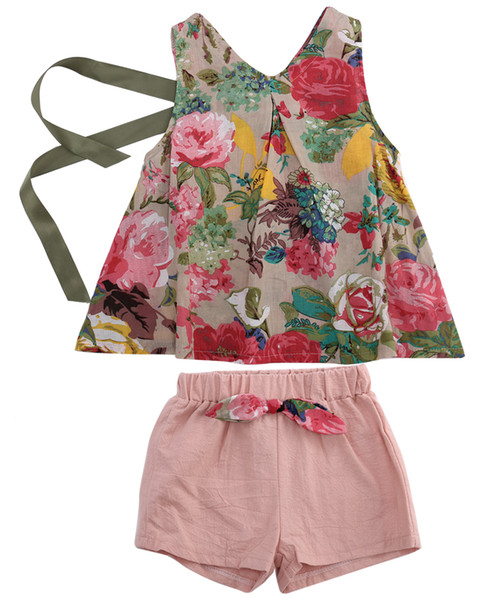 Flower Kids Baby Girls Outfits Clothes T-shirt Tops+Short Pants Shorts 2PCS Set