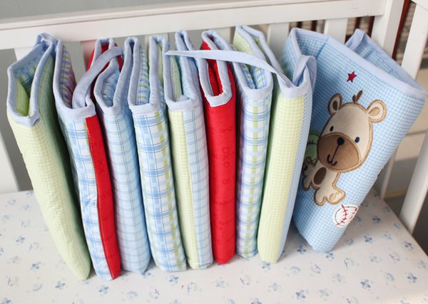 Hot Crib bed Bumpers + Baby skirts 100% Cotton Detachable Baby bed bumper Newborn Bumpers Infant Safe Fence Line bebe Cot Protector Unisex