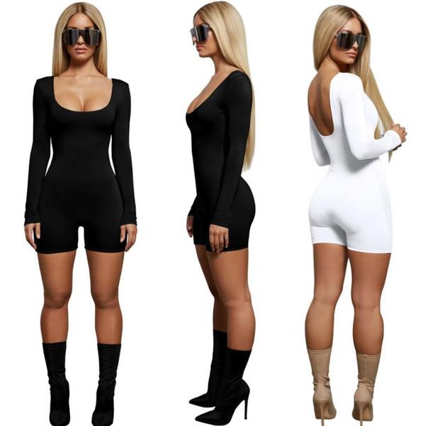 Einfarbig Spielanzüge Frauen Kleidung Sommer Slim Fit Sexy Schwarz Weiß Mode Lässig Overalls Einteilige Anzüge