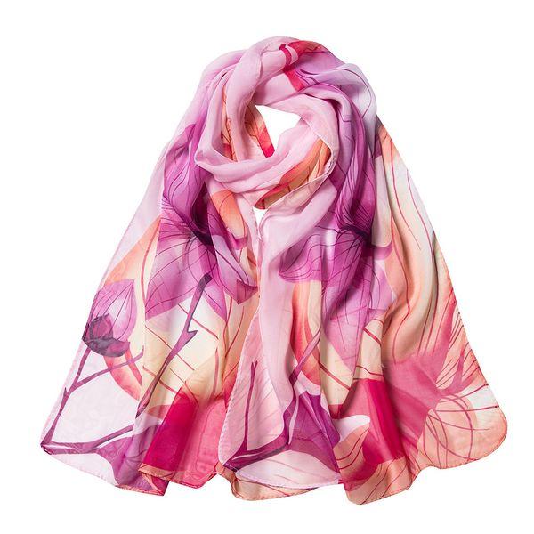Fashion Soft Scarf For Women Shawl Lotus Printing Chiffon Wrap Scarves Ladies Thin Long Silk Scarf Beach Wrap Shawl Szalik #Z
