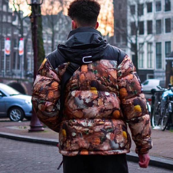 16FW BOX LOGO Nuptse Down Jacket Feuilles Imprimer Nuptse Feuillus Manteaux Manteau d'hiver Couple d'extérieur Mode S ~ XL HFLSYRF089