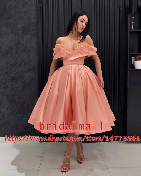 Applique Satin Short Prom Dresses 2019 Off Shoulder Formal Party Gowns Cheap Cocktail Graduation Dress Celebrity Tea Length Homecoming Dress