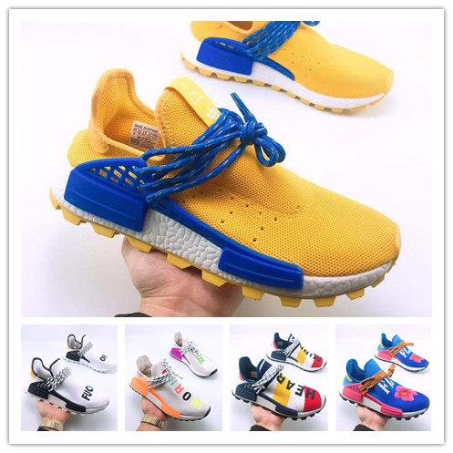 2019 new race casual shoes latest matching color yellow and blue PW HU Holi MC Farrell Williams trainer male and female sports shoes de