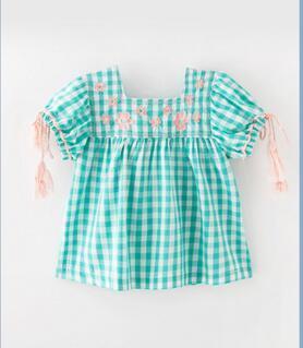INS Cute girl enfants chemise d'été 100% coton imprimé plaid à manches courtes avec fleur fille été causal vêtements chemise confortable