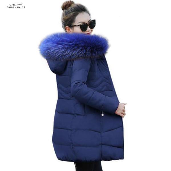 Revestimentos das mulheres inverno e Coats 2019 Parkas para cores de penas wadded casacos quentes Outwear com um colarinho Grande pele do falso