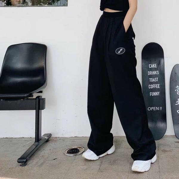 19ss we11 fait pantalon femmes lâche fit haute qualité sport pantalon décontracté streetwear hip hop gym vêtements bien fait pantalon