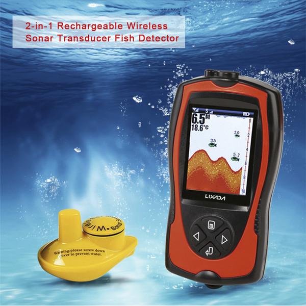 Lucky Portable 2-en-1 2.4inch LCD Sonda inalámbrica Buscador de peces Alarma 45M Profundidad del agua Señuelo de pesca Echo Sounder Ocean Fish Detector