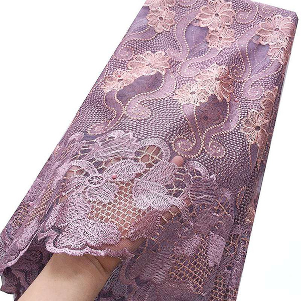 Französisch Tüll Stoff Spitze Material Kleider Nigeria Spitze Stoff Stickerei Lila Magenta Afrikanisches Spitzegewebe Für Frauen