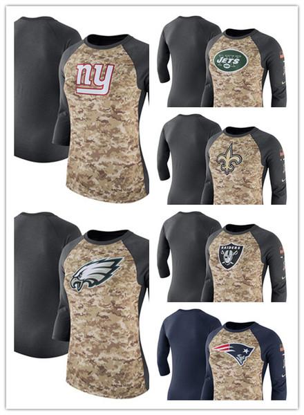 Women's Spring new hot round neck T-Shirt Raiders Patriots Saints Jets Giants Eagles Salute to Service Legend Three-Quarter Raglan Sleeve
