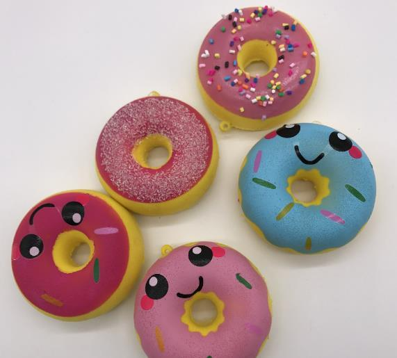 50pcs lot-rare Squishy Kawaii colorful donut 6.5cm Cell Phone Straps charms Squishy Slow Rising Squishies Charms Kid Toys Cute wholesale