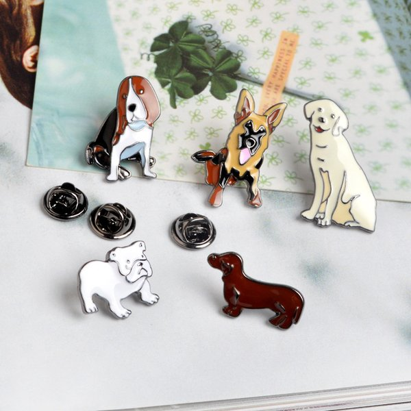 Animal Cute Cartoon Cane metallo Kawaii smalto Pin Badge Bottoni Spilla shirt Giacca di jeans Bag Spille decorative per regalo delle donne delle ragazze