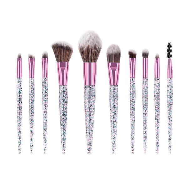 10Pcs/set Glitter Crystal Makeup Brushes Set Eye Shadow Concealer Eyelash Foundation Face Brush with Glitter Sequins Handle Makeup Brush Kit