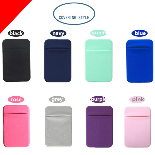 Elastic Lycra Mobile Phone Case Wallets Credit ID Card Holder Pocket 3M Adhesive Sticker Pouch for iPhone X XS MAX XR 8 Plus Samsung S9