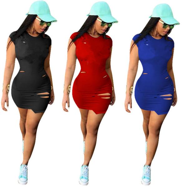 Desinger Femmes Déchiré Robe Imprimé Lettre Lettre Jupes Printemps Eté Dame Vêtements Sexy Casual Mini Robe Plus La Taille S-3XL Noir Rouge Bleu 039