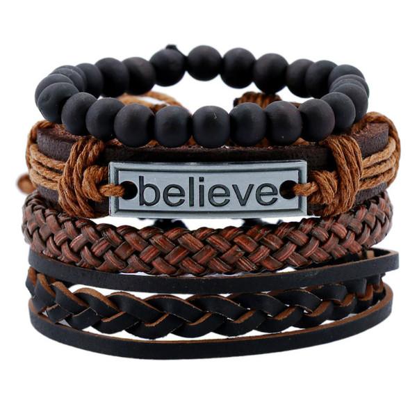 Fashion Multilayer Bracelet Men Casual Braided Leather Bracelets for Women Letter Believe Bead Bracelet Punk Rock Biker Jewelry Men Gift