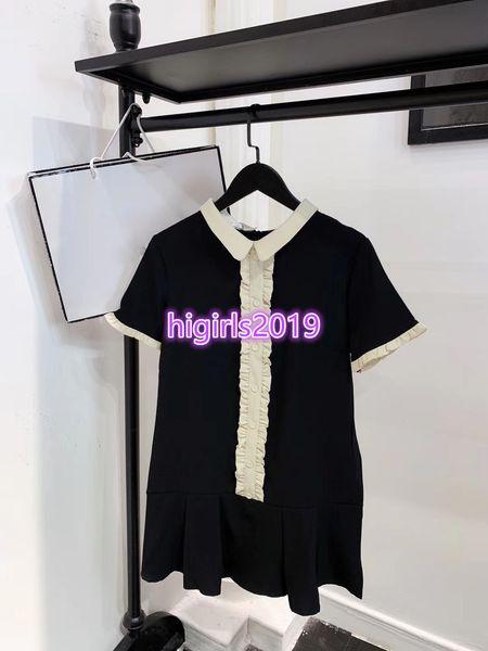 High end women girls lapel neck pleated shirt dress short sleeve long t-shirt top vintage midi skirts spring summer 2019 milan runway dress