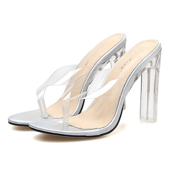 Open Toe High Heels Women sandals Transparent Perspex Slippers Shoes Heel Clear Sandals flip flops holiday beach slippers
