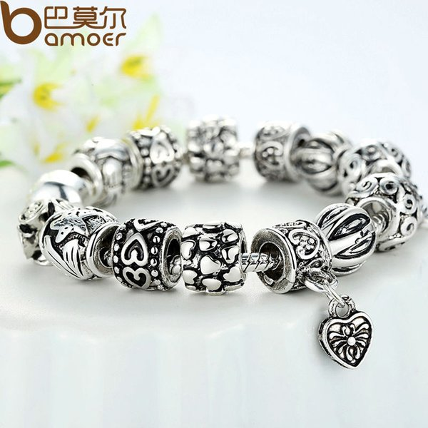2019 Pandora Style Antique Silver Charm Bracelet & Bangle Silver 925 With Heart Pendant for Women Wedding Vintage Jewelry Free Shipping