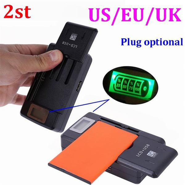 100pcs 2st 2 en 1 base de cargador de batería universal móvil multifuncional con pantalla LCD para teléfonos celulares con puerto USB