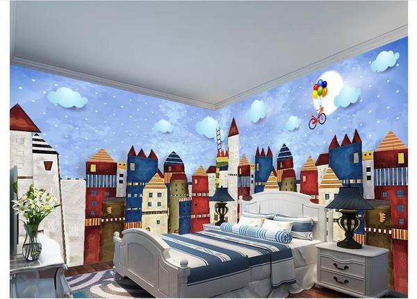Großhandel 3D Tapete Benutzerdefinierte Foto Seide Wandbild Tapete Original  Handgemalten Schlosshaus Cartoon Kinderzimmer Wandbild Hintergrund Wand ...