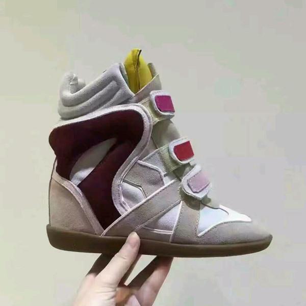 2019 mais novos das mulheres Brand Design Bekett Shoes Genuine Altura Couro Aumentar de alta top Suede Oculto Wedge Botas Sapatos X023