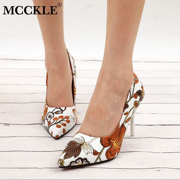 2019 Dress MCCKLE Women Sexy Pumps High Heels Ladies Floral Printing Shallow Slip On Pointed Toe Office Shoes Female Fashion Footwear