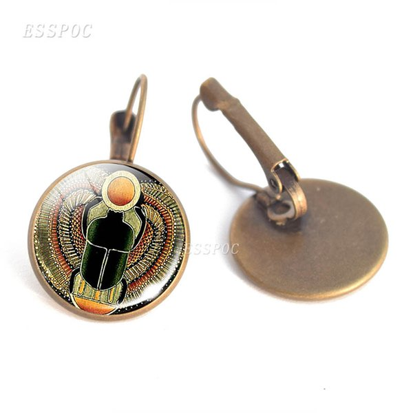 Vintage Egyptian Ankh Cross Hook Earrings Ancient Egypt Anubis Scarab Goddess Glass Cabochon Earrings Lovers Gift Women Jewelry