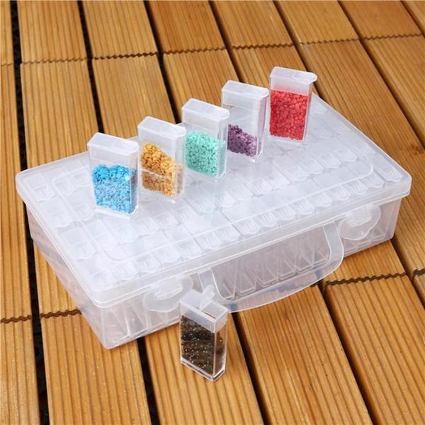 Bottiglie diamante del chiodo della pittura Storage Box della custodia in plastica Art Organizer strass cristallo borda il contenitore Jewelry Box