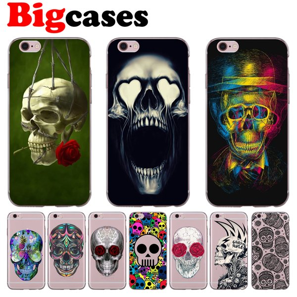 For iphone 7 8 6 6S Plus X XS Max XR 5 5S SE Case Cover Soft TPU Silicone Smoking Skull Phone Shell