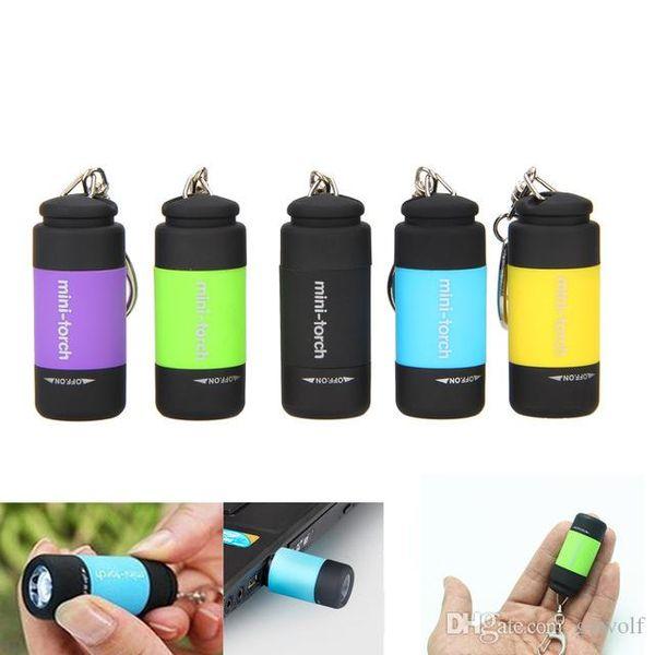 Dropshipping Mini-meşale USB Charing 10mins Kullanarak 2.5 ~ 5hrs LED El Feneri 25LM 0.3 w Cep Su Geçirmez Anahtarlık Fashlight Meşaleler Lambaları
