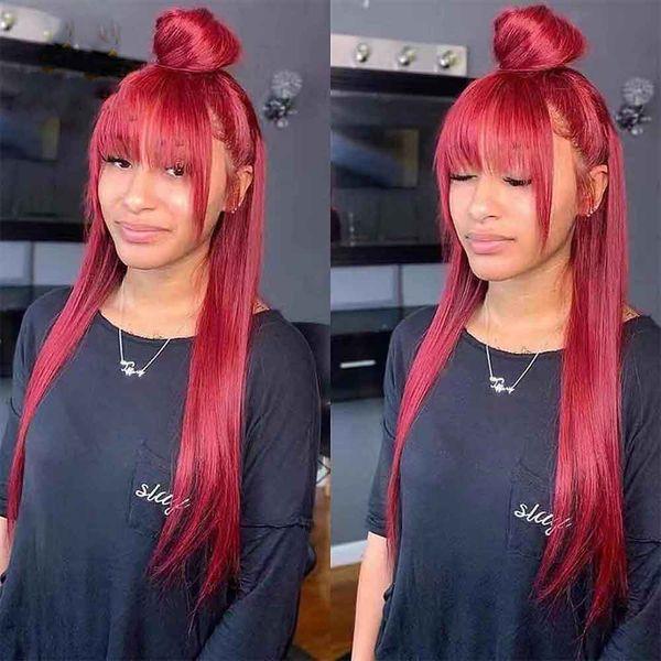 Capelli Capelli PAFF Red merletto pieno parrucche colorate Bang Human Wig Virgin 99j Borgogna parrucca anteriore del merletto